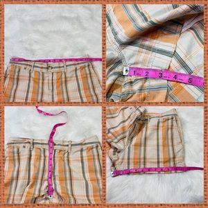 Old Navy Shorts - Old Navy Orange & Khaki Plaid Low Rise Shorts - 8